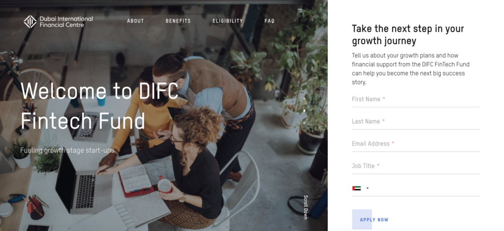 DIFC Fintech Fund homepage